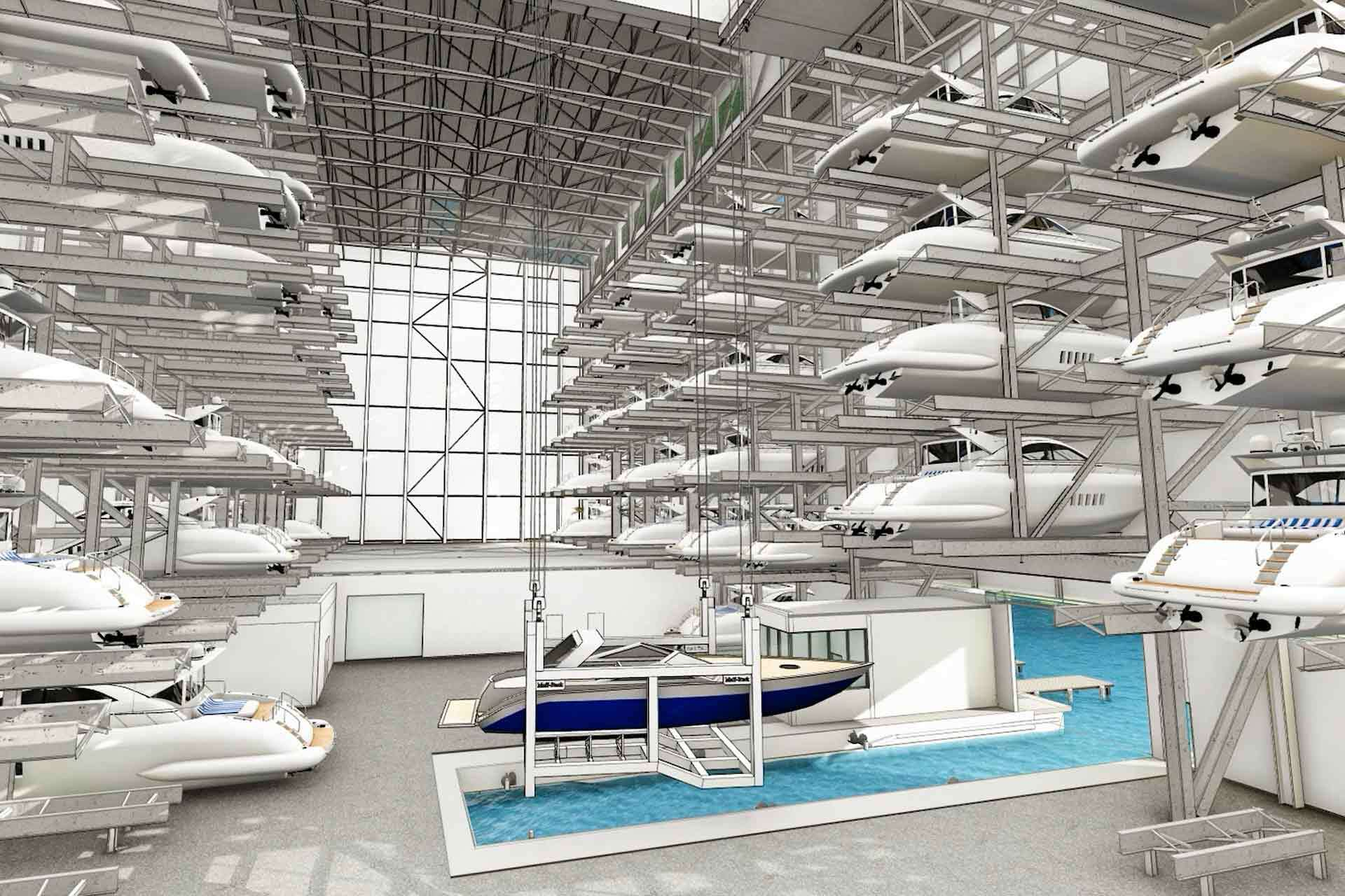 F3 Marina Fort Lauderdale offers fully-automated, indoor boat storage for boats up to 46 feet in overall length, 13-foot beams, up to 17 feet in height and hold a wet weight up to 30,000 pounds.
